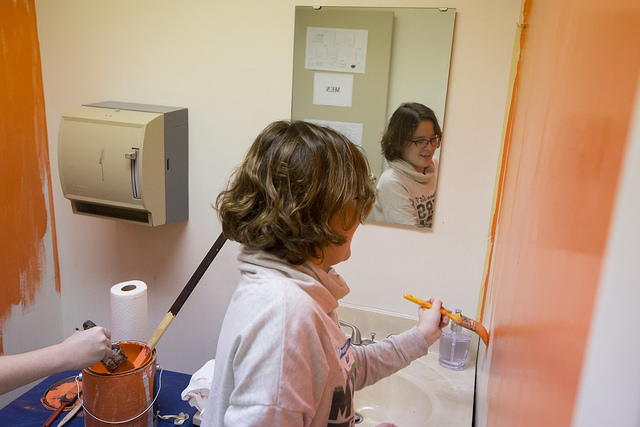 Painting with mirror reflection